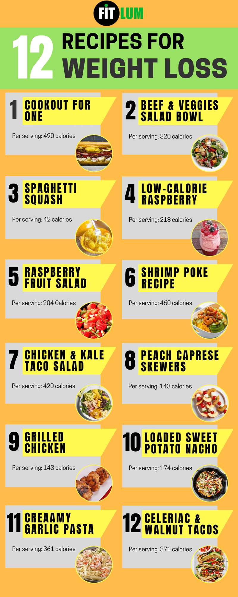 12 Best Weight Loss Recipes - Infographic