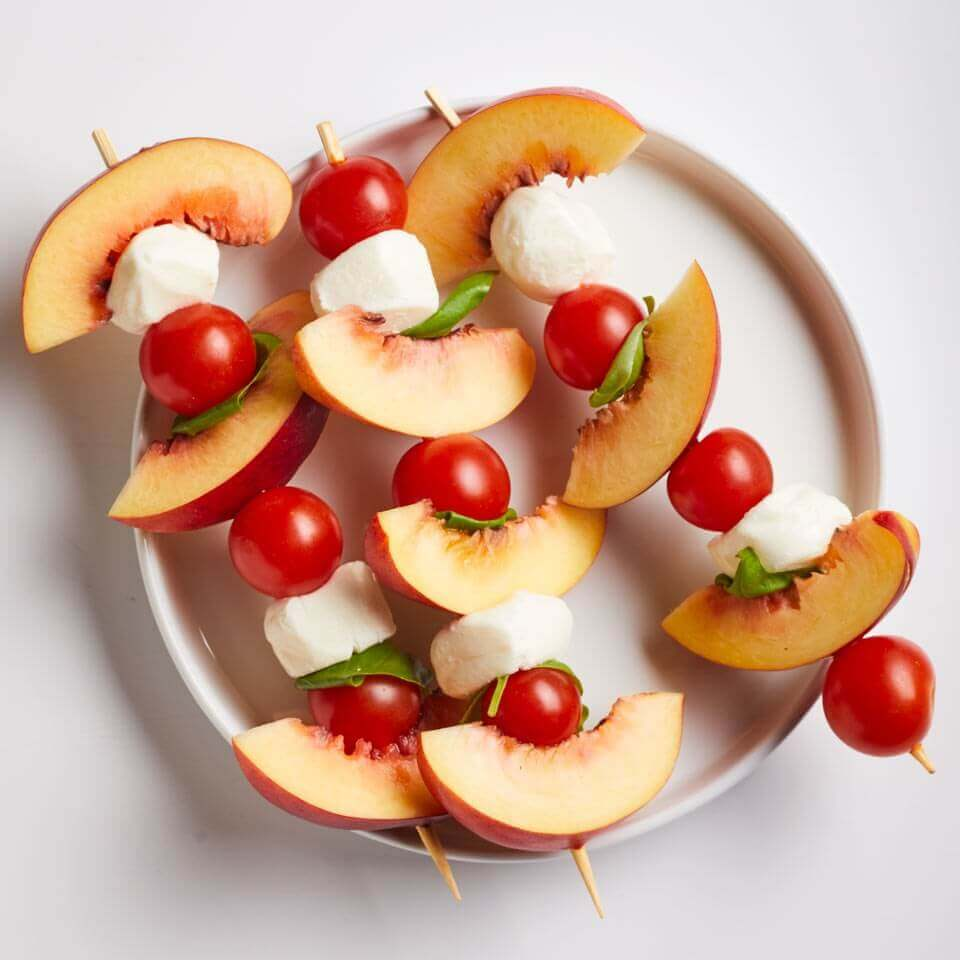 PEACH CAPRESE SKEWERS RECIPE