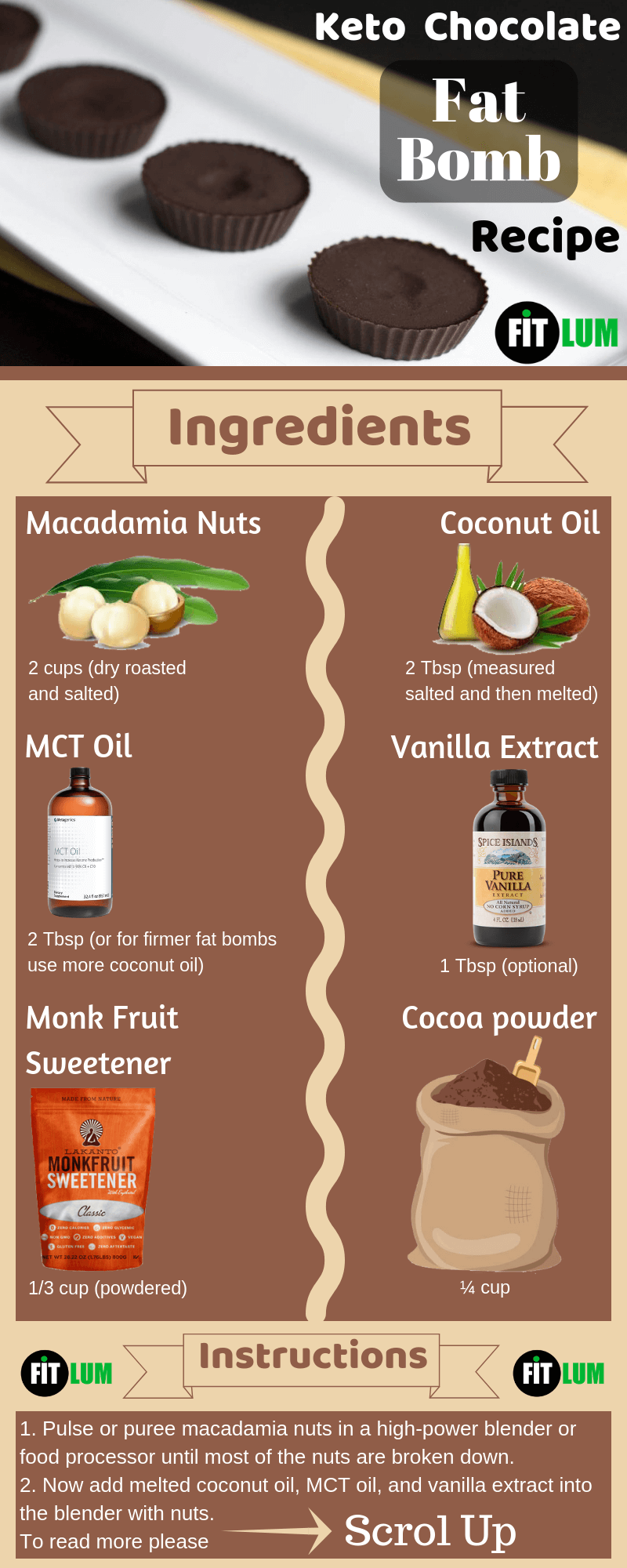 Keto Chocolate Fat Bombs Infographic